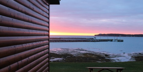 The lovely sunset view from Gros Morne Cabins in Rocky Harbour